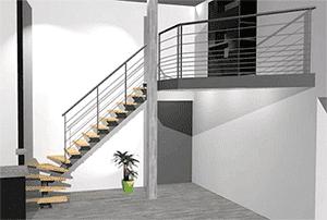 plan 3d escalier