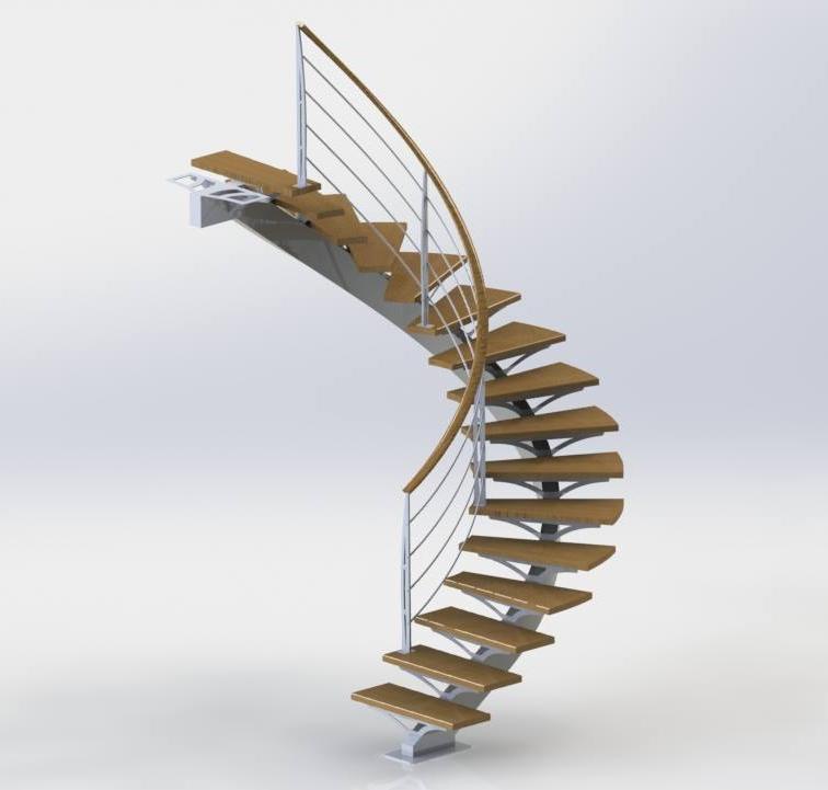 plan escalier acier chène