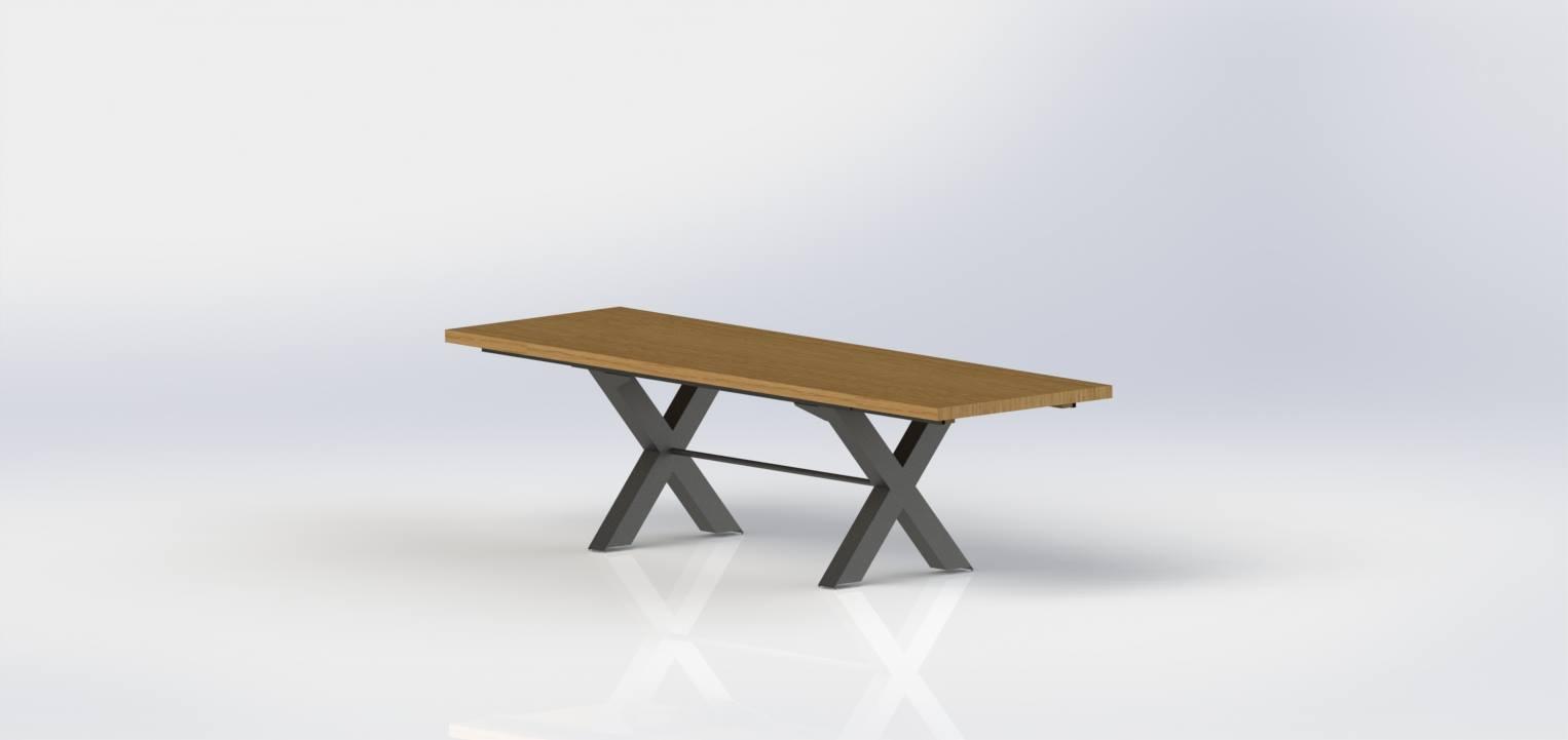 table bois acier industrielle