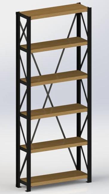 biblioteque acier bois chene