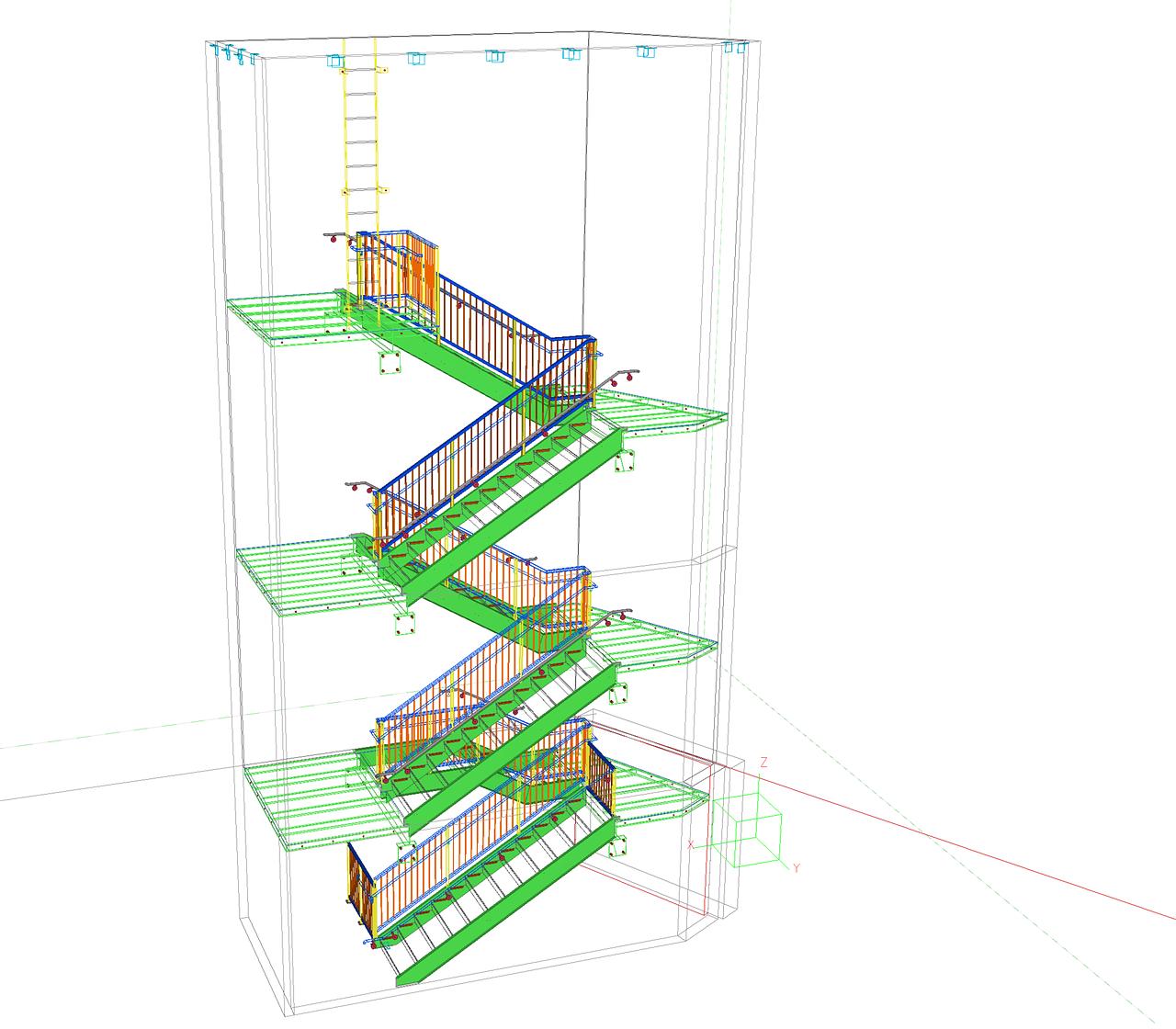 plan 3d escalier acier